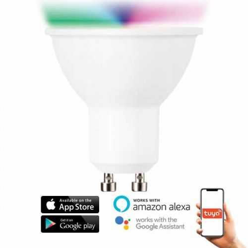 Bombilla LED RGB+CCT GU10 5W SmartHome Alexa-Google