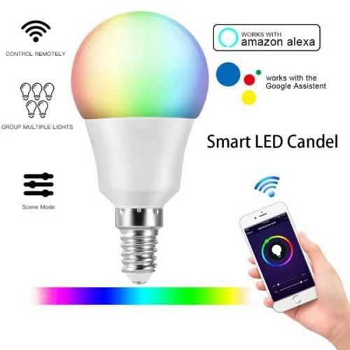 Bombilla LED RGB+CCT E14 6W SmartHome Alexa-Google