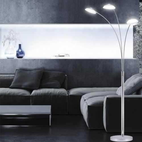 Lampara pie de salon Draco cromo LED 18W regulable