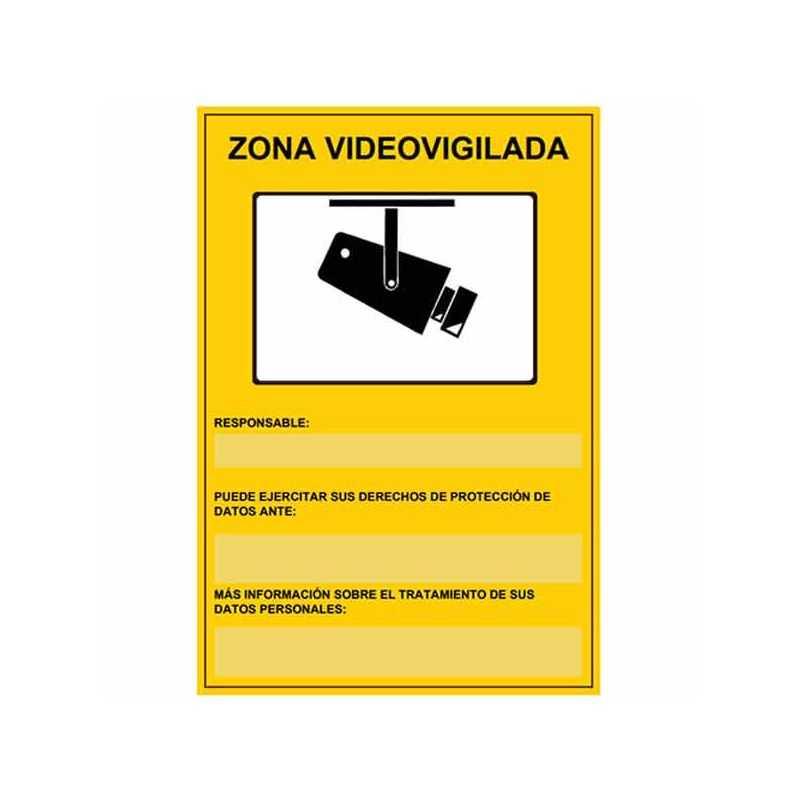 Placa de zona videovigilada homologada