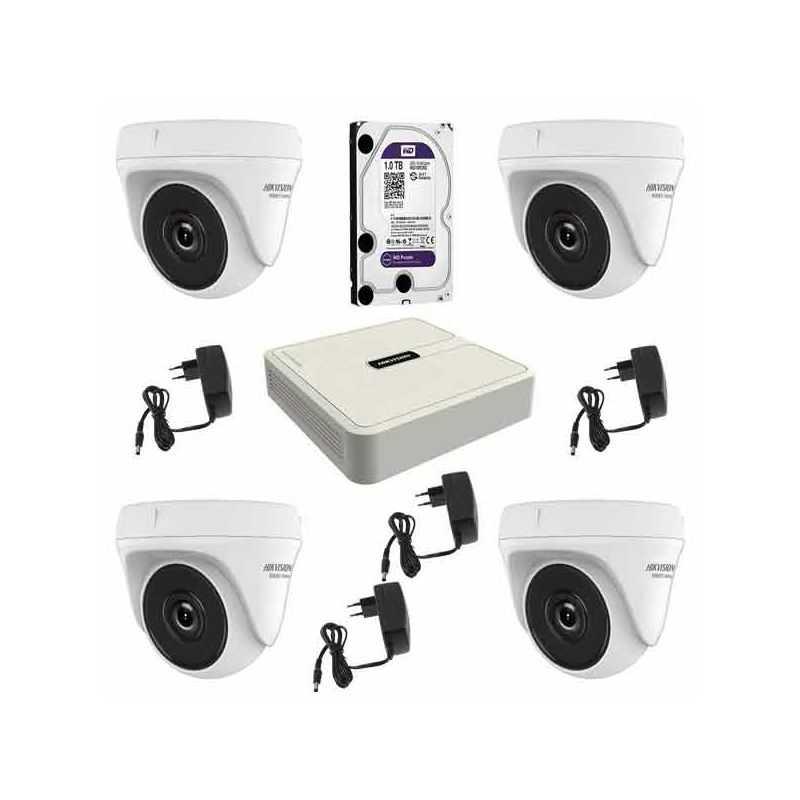 Kit 4 Cámaras Domo Hikvision 4en1 2Mpx con Videograbador y disco duro 1Tb