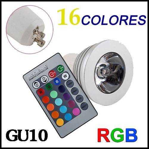 Bombilla LED RGB GU10 3W Mando a distancia