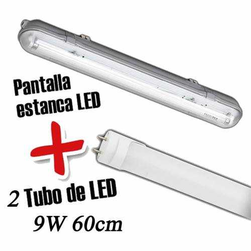 Pantalla estanca+Tubo LED 9W 60CM