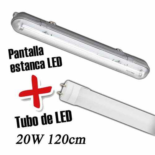 Pantalla estanca+Tubo LED 20W 120CM