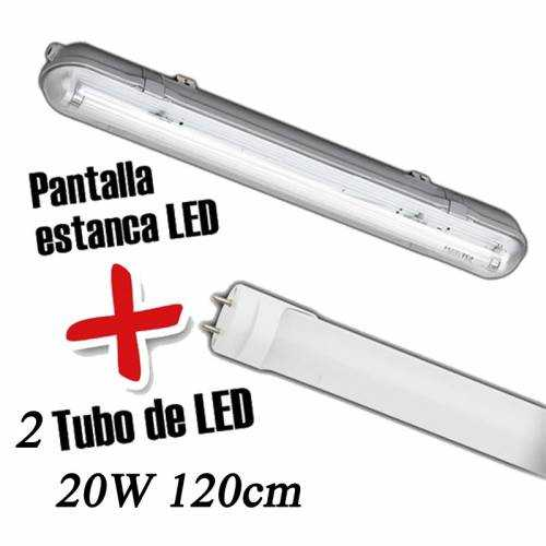 Pantalla estanca+2 Tubo LED 20W 120CM
