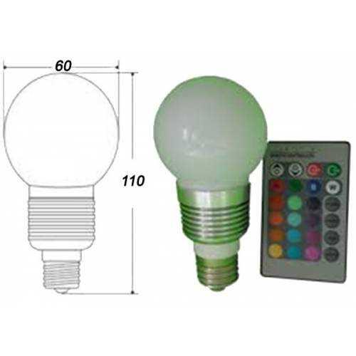 Bombilla LED esférica RGB E27 5W Mando a distancia