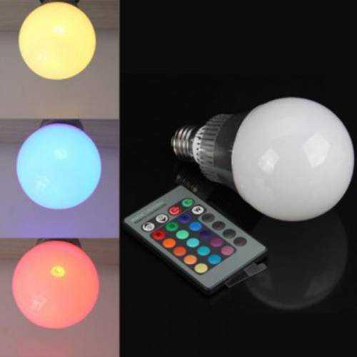 Bombilla LED esférica RGB E27 10W Mando a distancia
