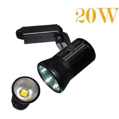 Foco Carril LED monofásico 20W Negro