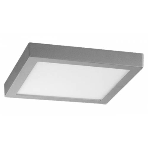 Plafón LED superficie Cuadrado 18W Plata Gris