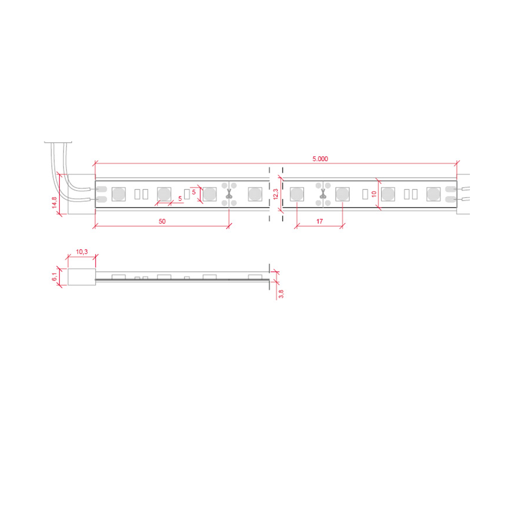 Tira led 5050 14 4 w m 12v ip68 5 metros sumergible - Tira led 5 metros ...