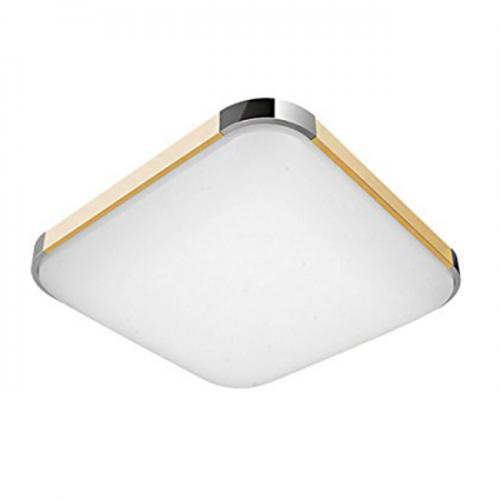 Plafón LED 48W Cuadrado Madera-Cromo