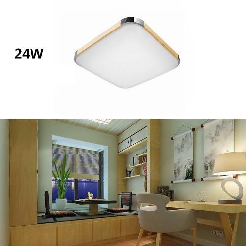 Plafón LED 24W Cuadrado Madera-Cromo