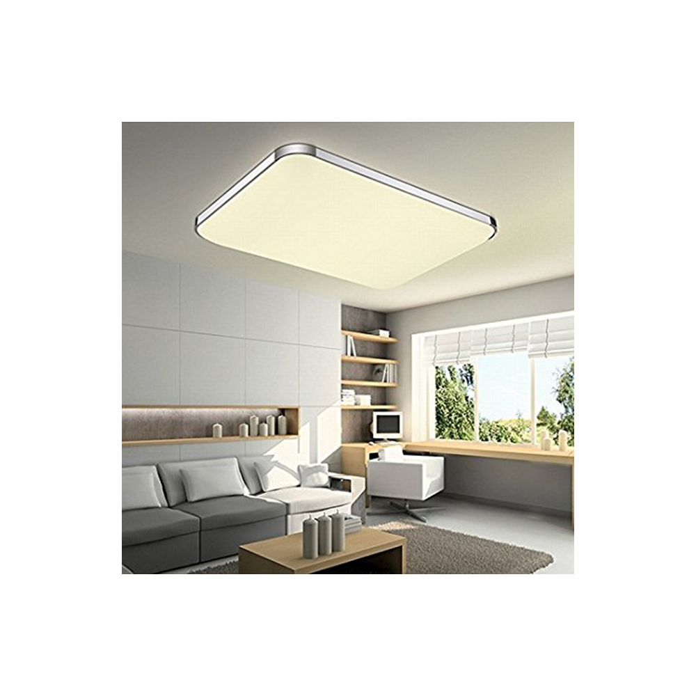 Plaf n led 64w rectangular aluminio cromo - Plafon led cocina rectangular ...