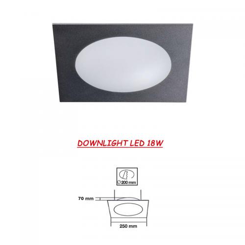 Downlight LED cuadrado Cristal Gris Metálico 18W