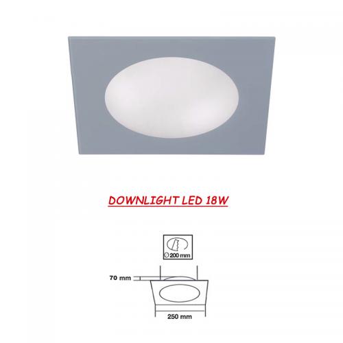 Downlight LED cuadrado Cristal Gris 18W