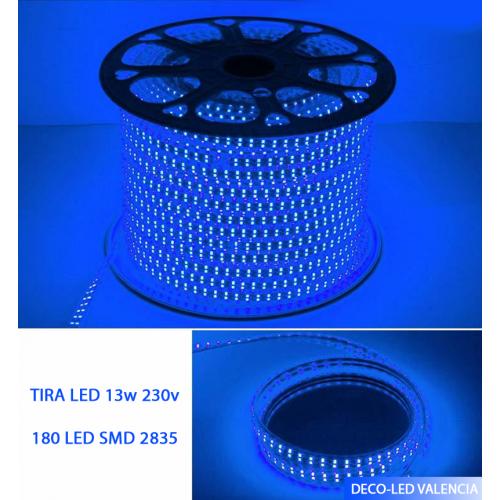 Tira LED SMD 2835 13 W/m AZUL 230V IP67 5 metros