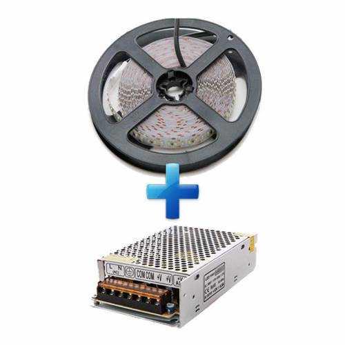 Pack Tira LED SMD 3014 18W/m 12V IP20 5m con Fuente de Alimentación