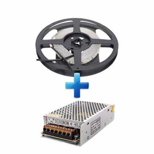 Pack Tira LED SMD 2835 22 W/m 24V IP20 5m con Fuente de Alimentación