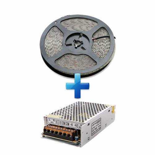 Pack Tira LED SMD 2835 22 W/m 24V IP65 5m con Fuente de Alimentación