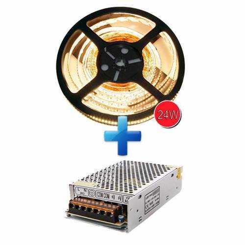 Pack Tira LED SMD 3014 24 W/m 12V IP20 5m con Fuente de Alimentación