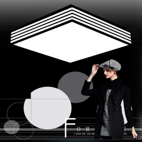 Plafón LED con diseño Cuadrado Negro-Rayas