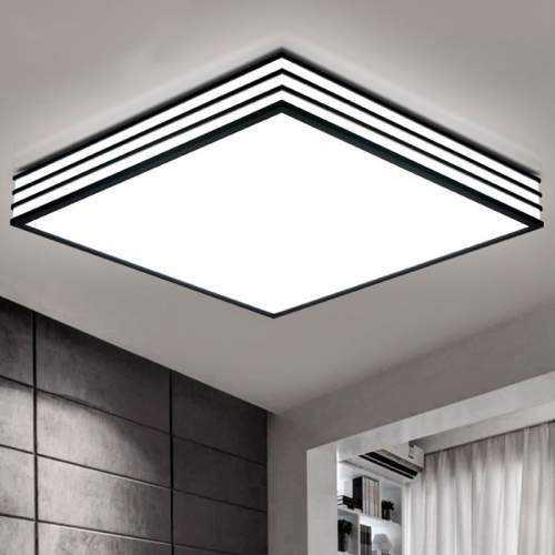 Plafón LED con diseño Cuadrado Negro-Rayas 30W