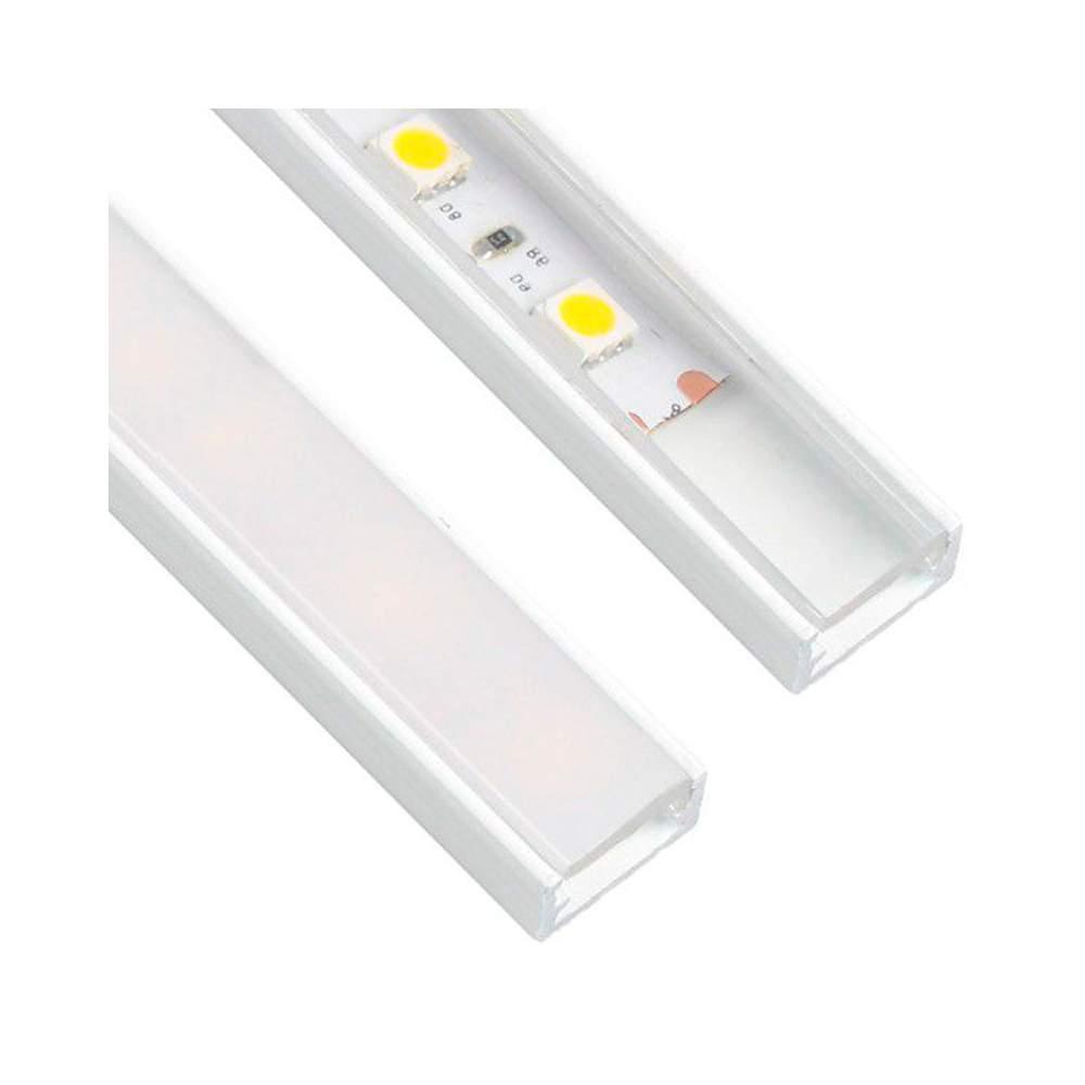 Perfil blanco aluminio superficie 2 metros para tira led - Perfil aluminio blanco ...