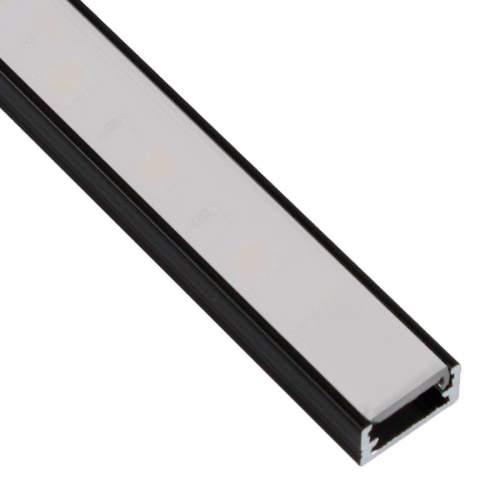 Perfil Negro Aluminio superficie 2 metros Tira LED