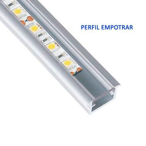 Perfil Aluminio Hondo Empotrar 2 metros Tira LED