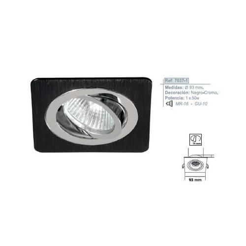 Empotrable Cuadrado Aluminio Negro-Cromo