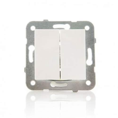 Conmutador Doble Panasonic Karre 10A Blanco Empotrable