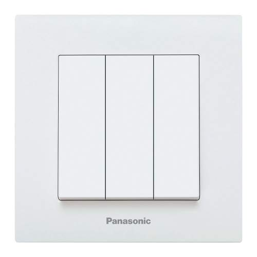 Interruptor Triple Panasonic Karre 10A Blanco Empotrable