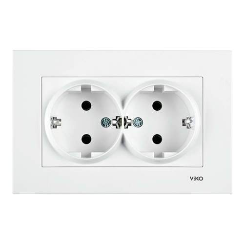Base Enchufe Doble Schuko Karre 16A Blanco Empotrable