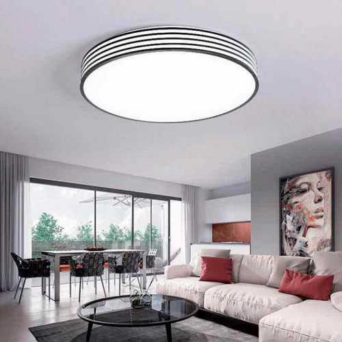 Plafón LED con diseño Circular Negro-Rayas