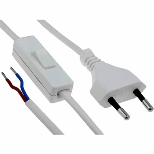 Cable con enchufe e interruptor Blanco de 2 metros