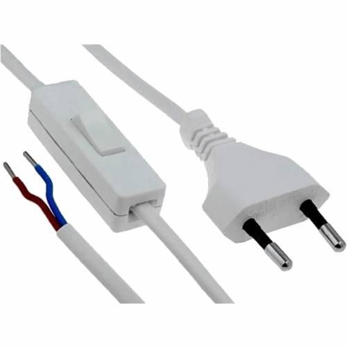 Cable con enchufe e interruptor Blanco de 2 metros