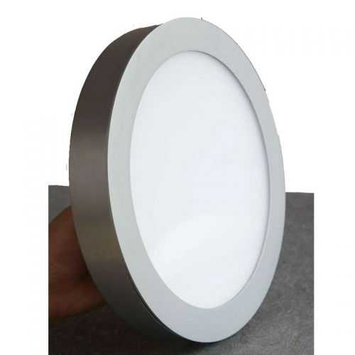 Plafón LED superficie Redondo 18W Plata Gris