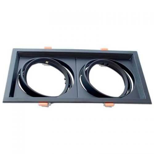 Empotrable Basculante Cuadrado Negro Doble AR111