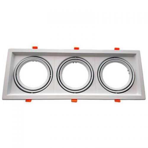 Empotrable Basculante Cuadrado Blanco Triple AR111