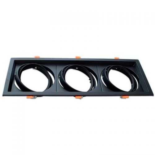 Empotrable Basculante Cuadrado Negro Triple AR111