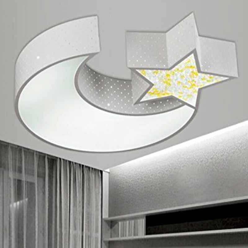 Plafón LED 32W Infantil Luna - Estrella Blanco