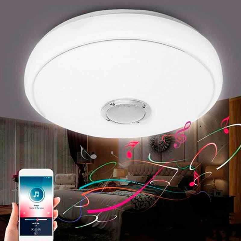 Plafón LED Músical con Altavoz 30W +App Cromo