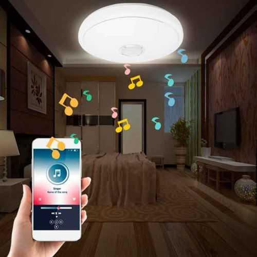 Plafón LED Músical con Altavoz 24W +App Cromo