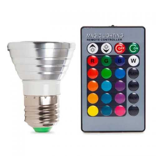 Bombilla LED RGB E27 3W Mando a distancia