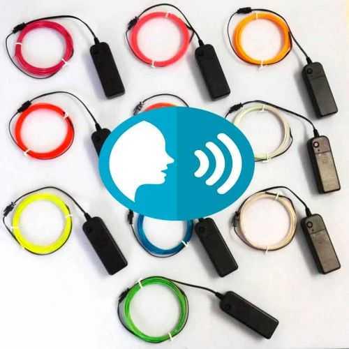 Hilo LED Neon control por voz Azul-Rojo-Rosa de 5 metros