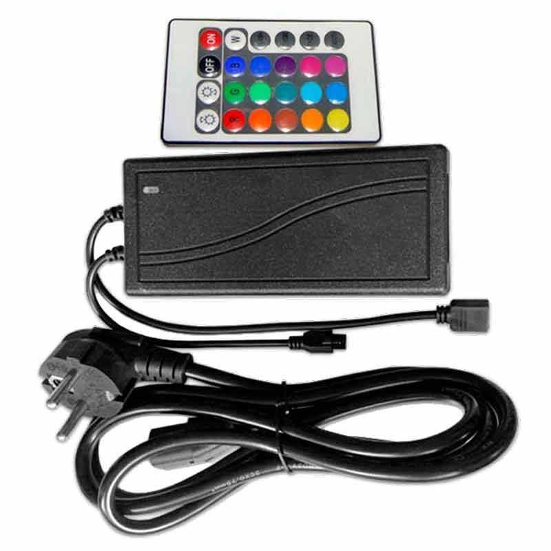 Controlador-Fuente alimentacion RGB infrarrojos 24 teclas 72W