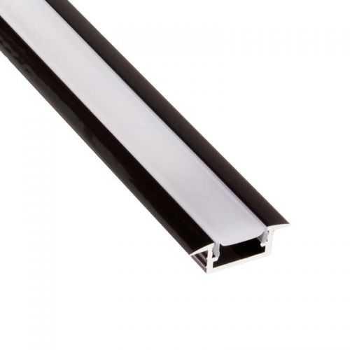 Perfil Negro Aluminio Empotrar 2 metros Tira LED