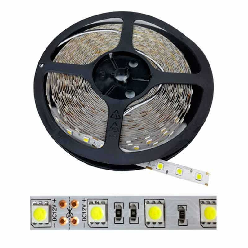 Tira LED SMD 5050 14,4 W/m 12V IP20 5 metros