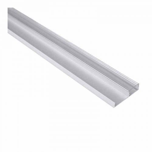 Perfil Aluminio Tira LED superficie 2 metros rodapie y muebles